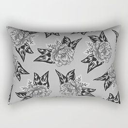 Cabbage Roses in Grey Rectangular Pillow