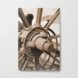 Wheel Hub Sepia Metal Print