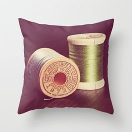 Wooden Spools of Thread Throw Pillow