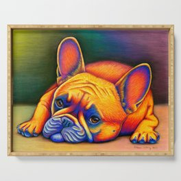 Colorful French Bulldog Rainbow Dog Pet Portrait Serving Tray