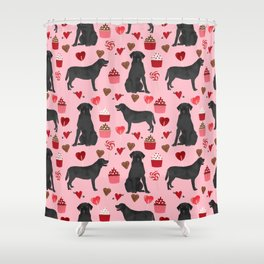 Black Lab love hearts cupcakes valentines day dog breed pet art gifts labrador retriever breed Shower Curtain