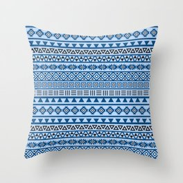Aztec Influence Pattern II Blues Black White Throw Pillow