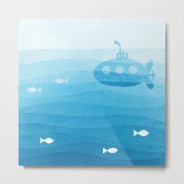 submarine, blue watercolor Metal Print
