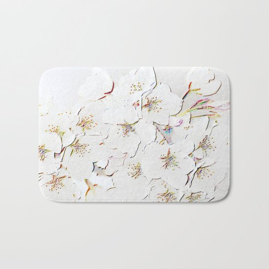 BLOSSOMS IN WHITE Bath Mat