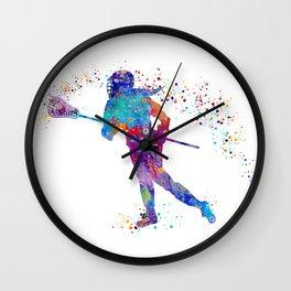 Girl Lacrosse Colorful Watercolor Sports Art Wall Clock
