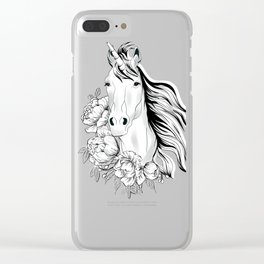 Unicorn,black and white floral illustration Clear iPhone Case