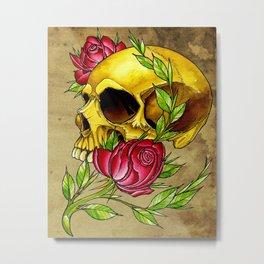 trad skull w rose Metal Print