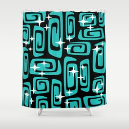 Mid Century Modern Cosmic Galaxies 435 Black and Turquoise Shower Curtain