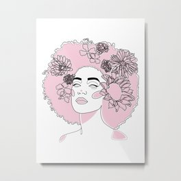 Black Woman Face with Pink Flowers Metal Print