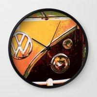 volkswagon Wall Clocks featuring Volkswagon Van by Alexandra Kube