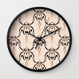 Black, beige, brown pattern in art Deco style. Wall Clock