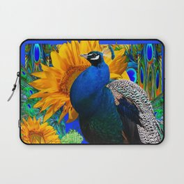 #2 BLUE PEACOCK &  SUNFLOWERS BLUE MODERN ART Laptop Sleeve