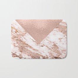 Pastel pink warm rose marble Bath Mat