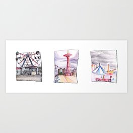 Coney Island Trio  Art Print