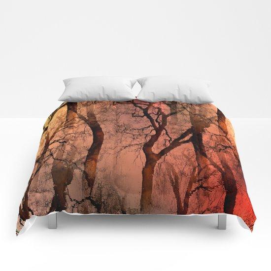 Glamour Trees (orange) Comforters