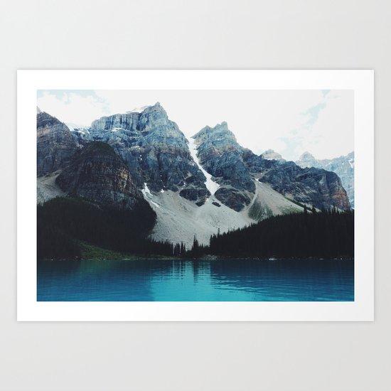 Moody Moraine lake Art Print