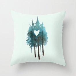 Forest Love - heart cutout watercolor artwork Throw Pillow