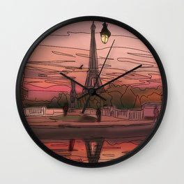 Paris Sunsets Wall Clock
