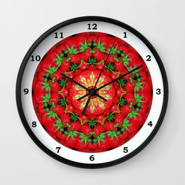 Strawberry season mandala k3 1158 Wall Clock
