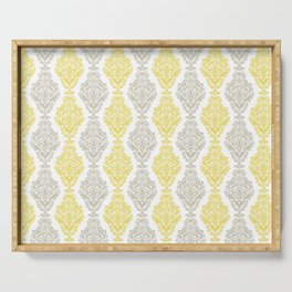 Yellow Gray Damask Serving Tray