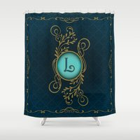 monogram Shower Curtains featuring Monogram L by Britta Glodde