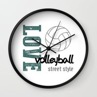 volleyball Wall Clocks featuring Love Volleyball Street Style by raineon