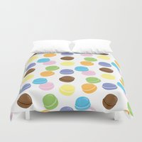 macaron Duvet Covers featuring Macaron Frenzy by April Marcuzzo