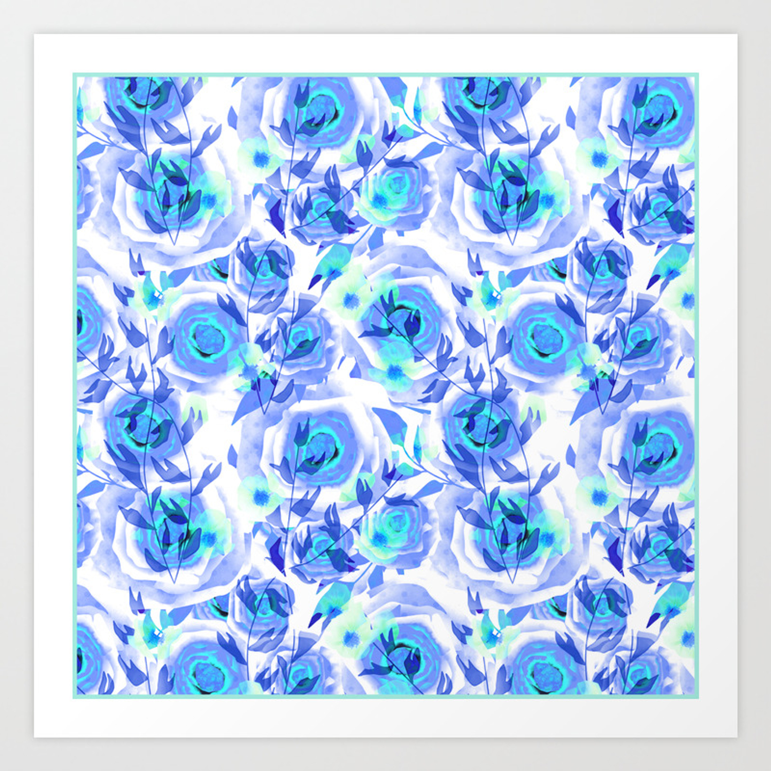 Blue And Light Blue Floral Background Art Print By Fuzzyfox85