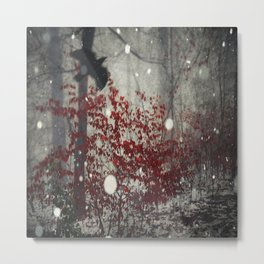 Heart of Winter - Red Tree in Forest Metal Print