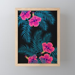 Palm Leaves Hibiscus Flowers Dark Exotica Framed Mini Art Print