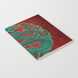 Wooden Jade Dragon Carving on Red Background Notebook