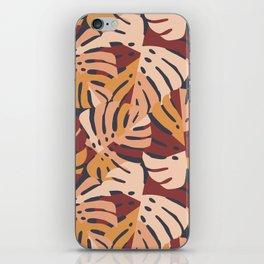 Color Block Monstera Leaves in Maroon iPhone Skin
