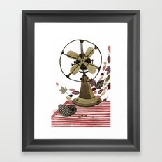 Still life with vintage fan and autumn leaves Framed Art Print