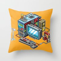 computer Throw Pillows featuring 8bit computer by Sergey Kostik