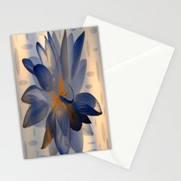 Midnight Blue Polka Dot Floral Abstract Stationery Cards