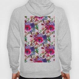 Magenta pink lavender blue watercolor bohemian floral Hoody