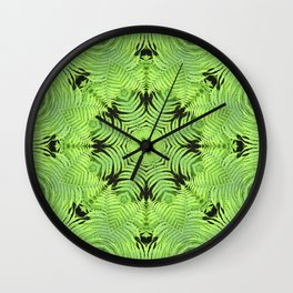 Fern frond fantasy kaleidoscope Wall Clock