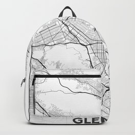 Minimal City Maps - Map Of Glendale, California, United States Backpack
