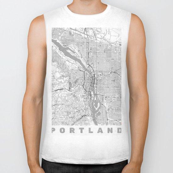 Portland City Map Line Biker Tank