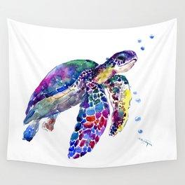 Sea Turtle Rainbow Colors, turtle design illustration artwork animals Wall Tapestry