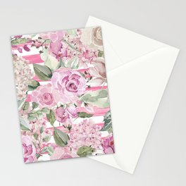 Country chic watercolor pastel green pink geometric floral Stationery Cards