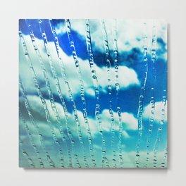 444 - Raindrops on glass Metal Print