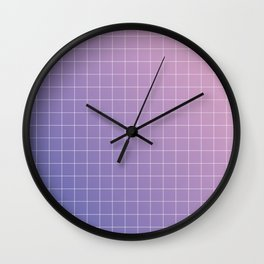 purple / pink - grid Wall Clock
