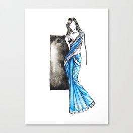 Saree Indian wear fashion illustration Canvas Print