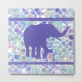 Abstract Purple Elephant Metal Print