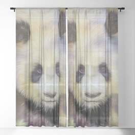 Giant Panda II  (digital painting) Sheer Curtain