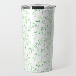 Modern hand drawn neon green watercolor white bamboo pattern Travel Mug