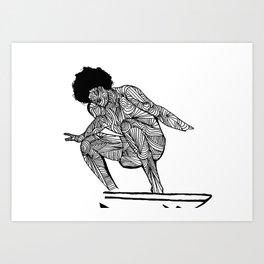 70s surfer Art Print