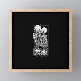 The Lovers Skull Kiss Framed Mini Art Print