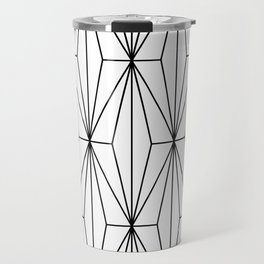 Black White Geometric Pattern Illustration Travel Mug